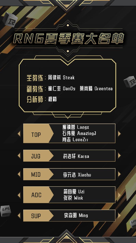 RNG战队公布夏季赛名单 香锅和姿态不在名单上