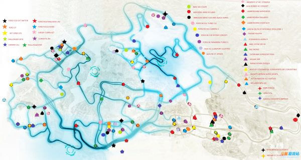 《极品飞车17:最高通缉》NFSMW 2012所有车详细位置图