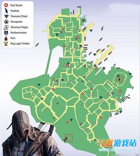 刺客信条3堡垒位置分布图