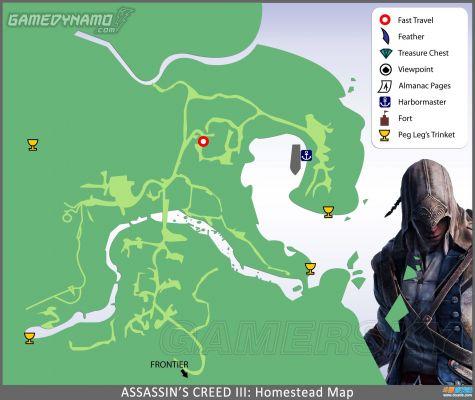 刺客信条3全城市地图 城堡羽毛宝箱地洞标记