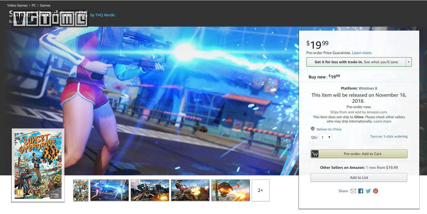 亚马逊出现《日落过载》PC版页面 或将在11月16日发售_PC版卖家页面