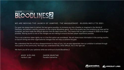 《吸血鬼:避世血族2》延期至2021年发售 打磨游戏品质